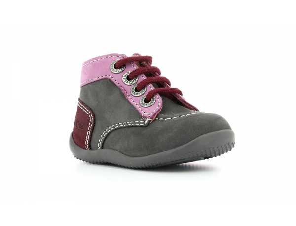 a41a13a2aa3b6f Chaussures Enfant BONBON GRIS ROSE FONCE - Kickers