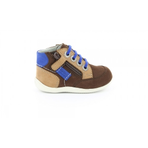 Kickers BARTIN marrone scuro beige blu