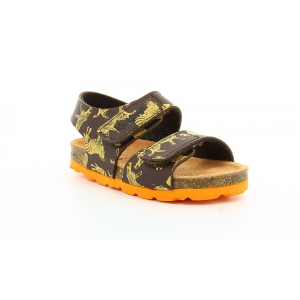 Kickers SUMMERKRO MARRON IMPR JAUNE