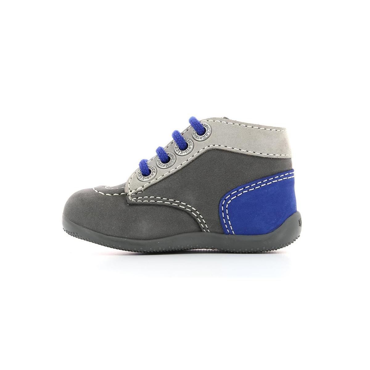 0e009d21594 Bottillons Bébé Bonbon gris clair bleu - Chaussures Bébé - Kickers