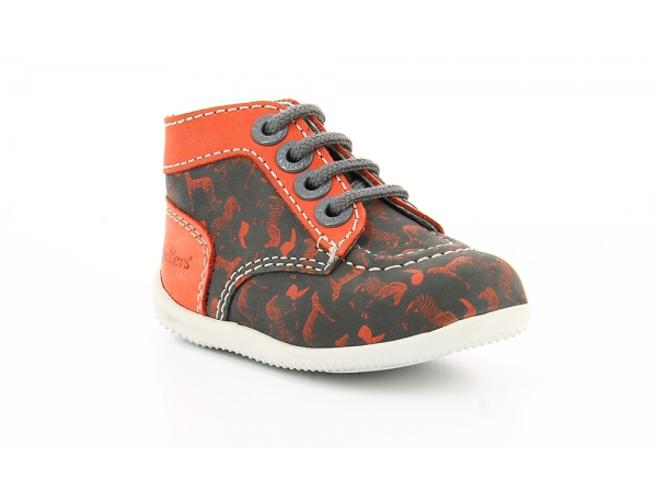 Kickers BONBON GRIS IMPR ORANGE