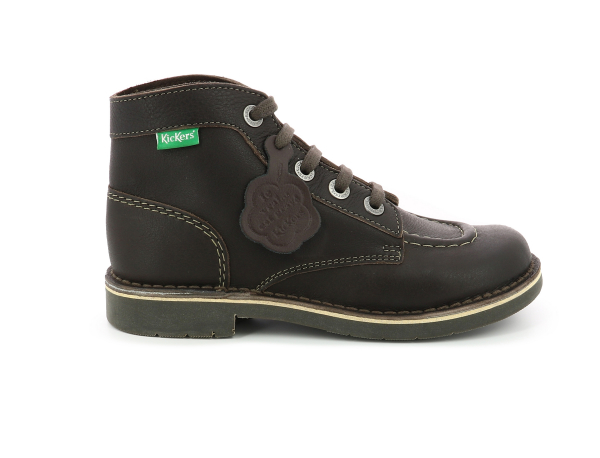 KICK COL DK BROWN WH STICHING PERM