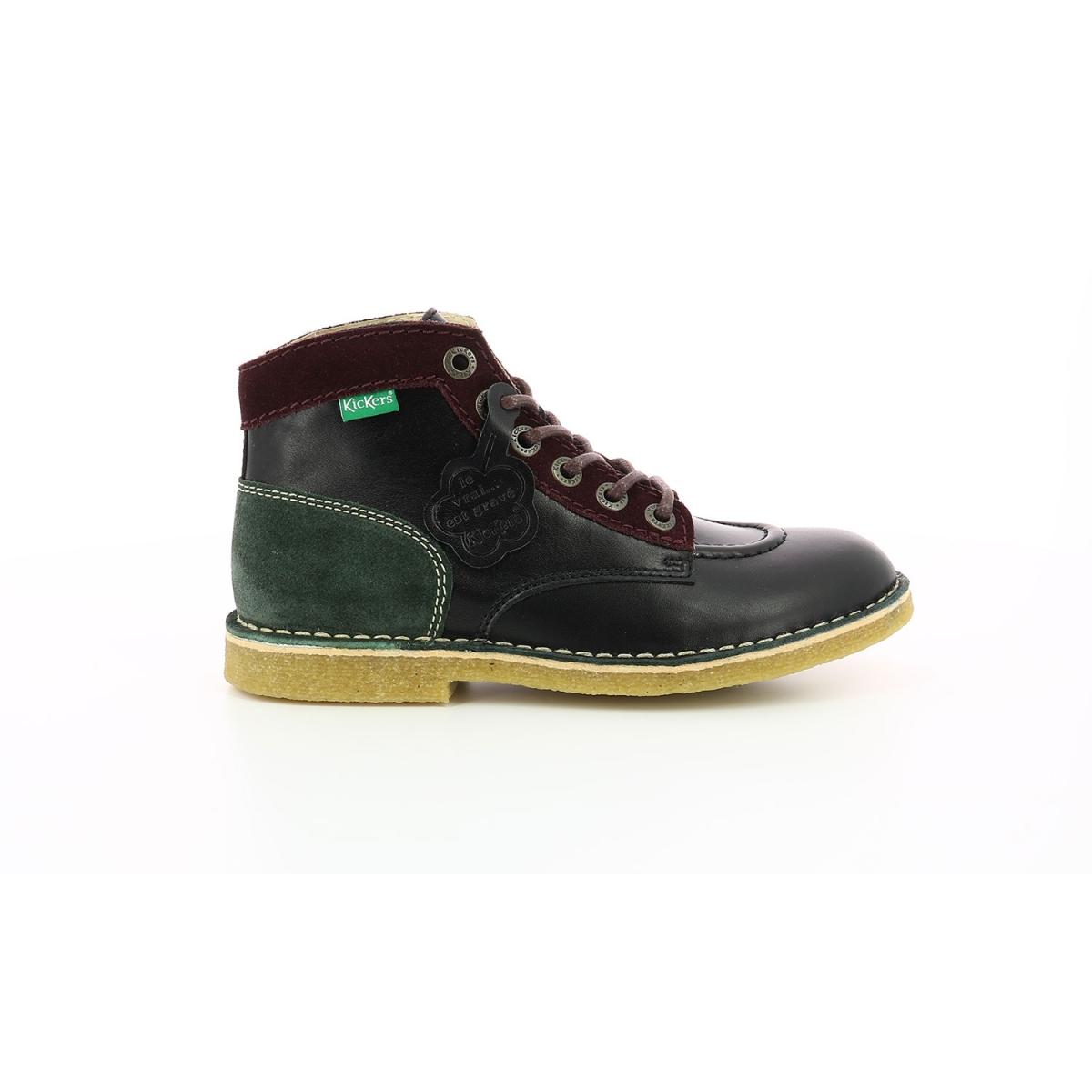 Boots Kick Legend noir bordeaux vert Chaussures Femme