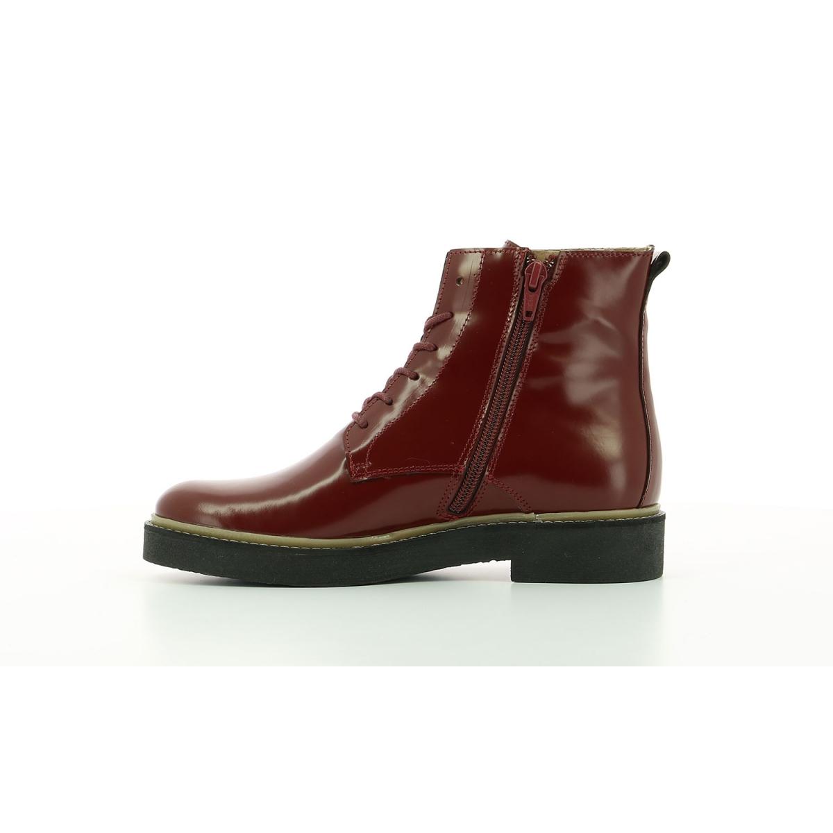 Boots Femme Oxigeno rouge foncé Chaussures Femme Kickers