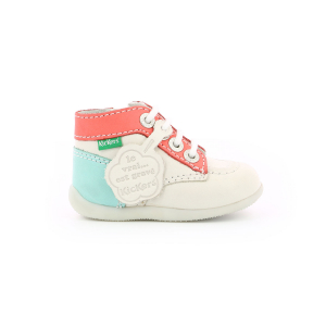 Kickers BONZIP-2 WHITE PINK BLUE