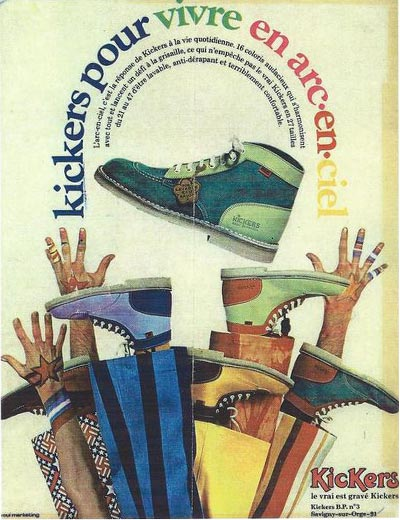 Iconic retro vintage poster of the brand of kickers shoes for rainbow living