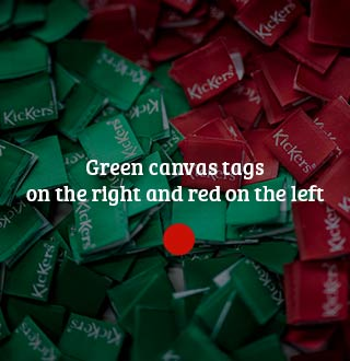 Labels in green canvas on the right and red on the left