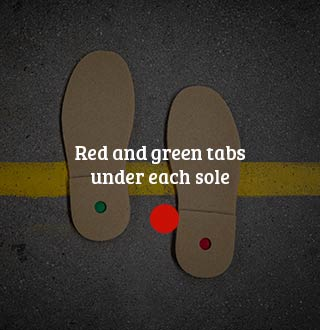 Red and green pellets under each sole