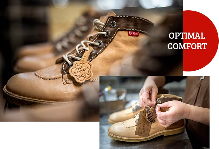 The optimal comfort of the Kickers shoe brand since 1970