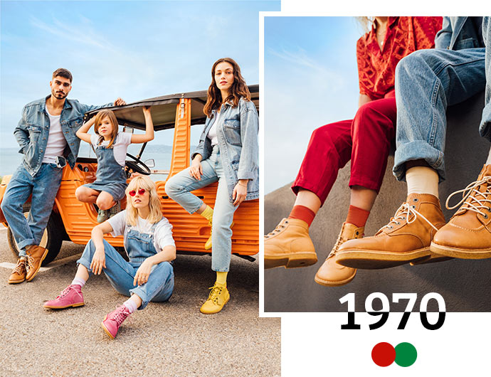 the vintage and iconic shoes of the brand kickers since 1970